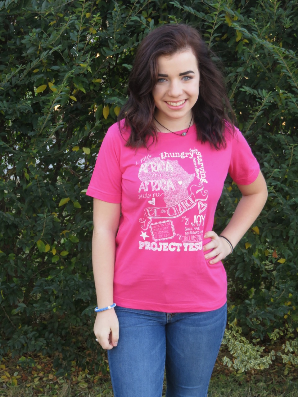"""Mallory modeling our """"Doodle Shirt"""""""